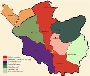 Danków na mapie podziału dzielnicowego po śmierci Bolesława Krzywoustego