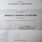 """List w sprawie objęcia patronatem przez Marszałka Województwa Świętokrzyskiego """"VIII Wakacji z Historią w Ossolinie"""""""